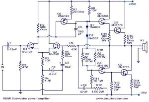 100 Watt sub woofer amplifier  Working and Circuit diagram