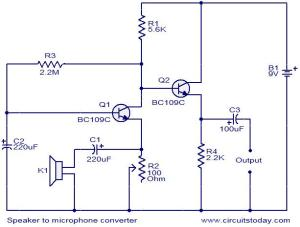 Speaker to microphone converter circuit  Electronic