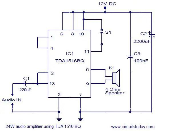 24w amplifier using tda1516 today\u0027s circuits24w amplifier using tda1516 circuit