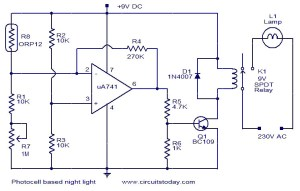 Photocell based night light  Electronic Circuits and