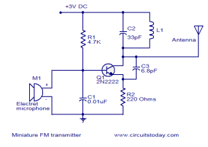 Miniature FM transmitter  Electronic Circuits and DiagramsElectronic Projects and Design