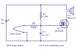 Wire loop alarm  Electronic Circuits and Diagrams