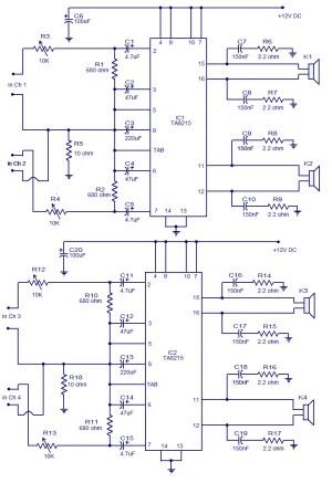 4 X 15 Watt power amplifier  Electronic Circuits and