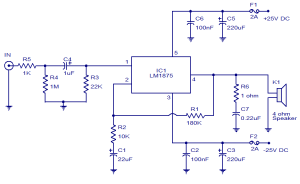 20W audio amplifier using LM1875  Electronic Circuits and