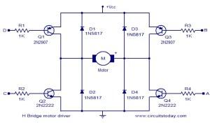 H bridge motor driver circuit  Electronic Circuits and