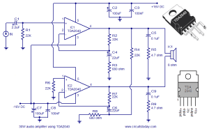 Audio Amplifier Circuit Diagram  30 Watts