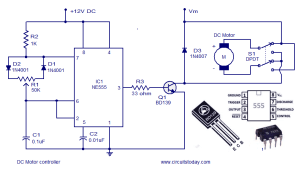 Dc motor speed controller circuit using NE555