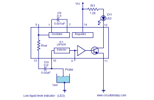 Liquid level indicator circuits using LM1830