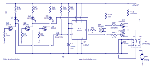 Water level controller circuit using transistors and NE555 timer IC