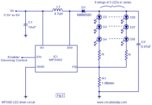 LED driver based on MP3302 LED driver IC Working circuit