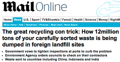 Screen shot from the Mail Online Story