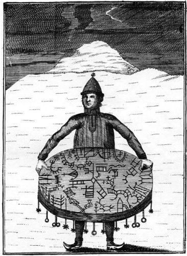 """A Sami shaman with his magic drum (meavrresgárri). Copper  carving by O.H. von Lode, for a book by Knud Leem, """"Beskrivelse over Finnmarkens Lapper, deres Tungemaal, Levenmaade og forrige Afgudsdyrkelse"""""""