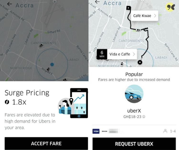 Using Uber app in Ghana - Surge pricing