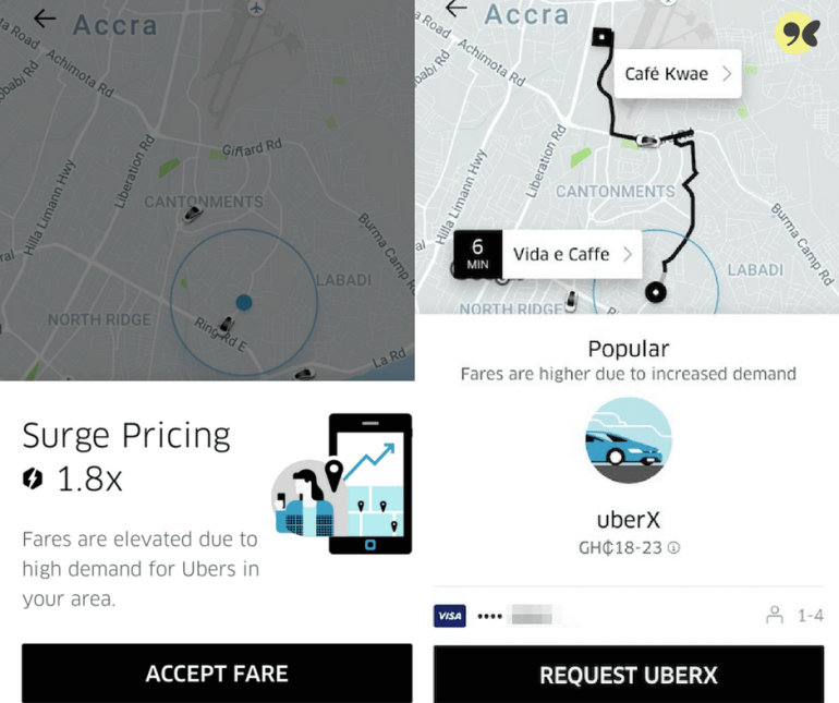 Using Uber app in Ghana - Surge pricing