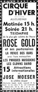 annonce du cirque hiver avec Rose Gold, impératrice du trapèze, en vedette