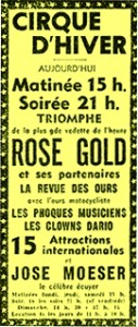 Annonce du Cirque d'Hiver - impératrice du trapèze