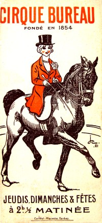 programme du Cirque Bureau, direction Bureau frères 1921