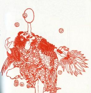jongleur au cerceau sur le nez - Saltimbanques d'Hokusai