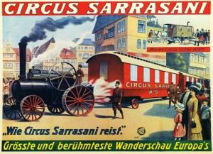 Affiche de la locomobile de Sarrasani - les cirques motorisés