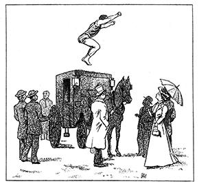 Le saut par Higgins au-dessus d'une calèche - sauteur aux haltères