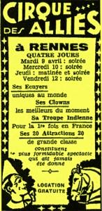 Annonce presse du Cirque des alliés à Rennes - Amédée Ringenbach