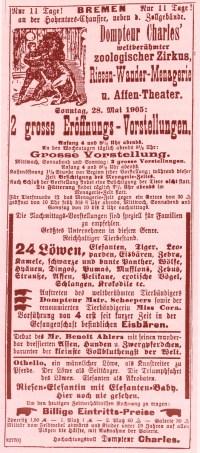Annonce du Cirque Charles - Année 1905