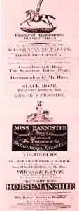 Affiche Bannister - cirques britanniques du début XIXème siècle