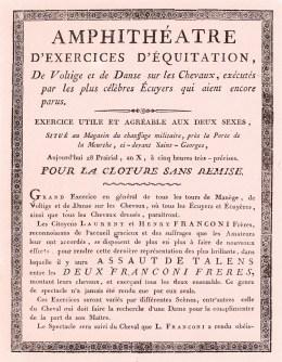Franconi en tournée Année 1801