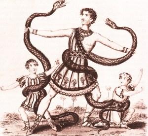 Henri Martin luttant contre un boa