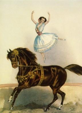 L'écuyère Kätchen Renz à cheval