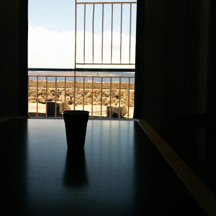 Coffee on way to Gozo.