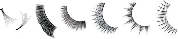 Alguns tipos de cílios: Tufos; cheio e comprido no canto externo; cheio; cerdas cruzadas; espaçados; curto nas extremidades e longo na parte central