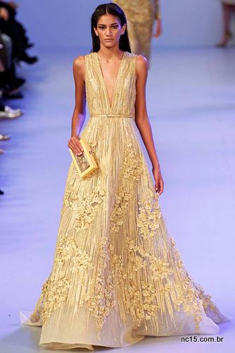 Vestido Dourado Elie Saab