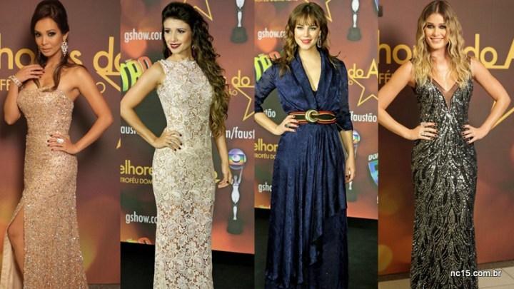 Carol Nakamura (assistente de palco), Paula Fernandes, Paola Oliveira e a também assistente de palco Kika Martinez no melhores do ano da Globo