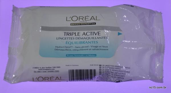 Lenço de demaquilante Triple Active da L'Oréal