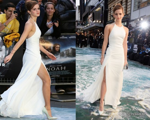 Emma e seu vestido branco, de frente e de lado