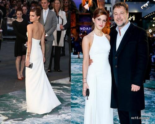 Emma e seu vestido branco... De costas e com o colega de elenco Russell Crowe