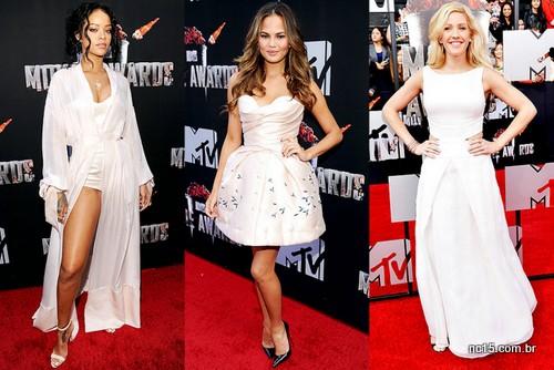 vestido roupas claras: Rihanna, Chrissy Teigen e Ellie Goulding, todas no MTV Movie Awards 2014