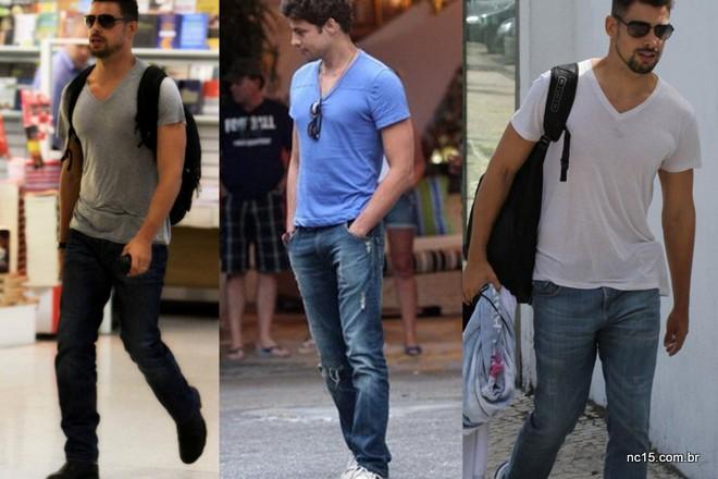 Cauã usando jeans com camiseta