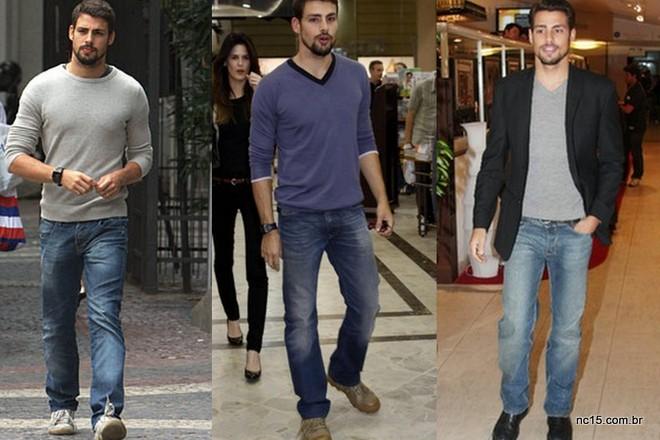 Cauã, variando no estilo jeans com camisa, e com o up do blazer