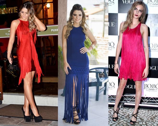 Thássia Naves, Rafinha gadelha e a modelo Cara Delevingne para Bo.Bô, todas de vestido de franjas