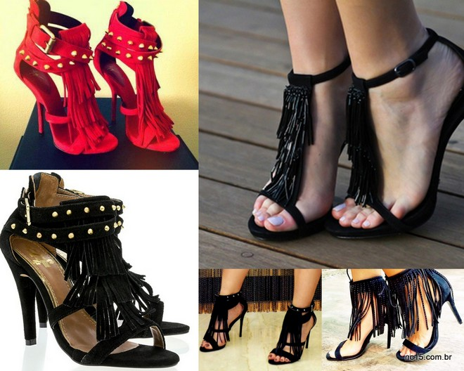 Sapatos de franjas