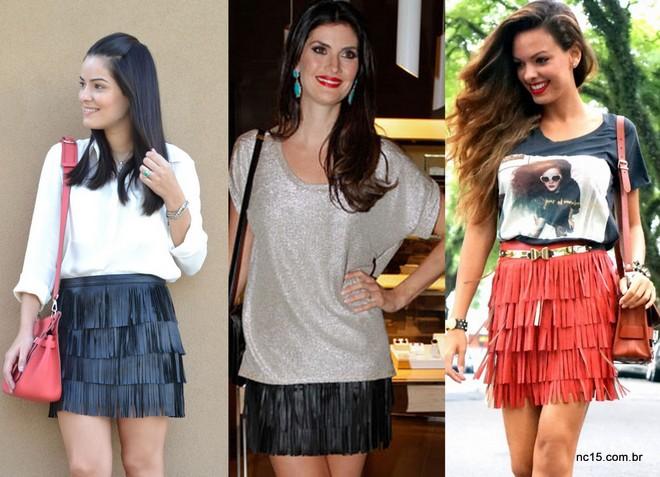 Blog da Mariah, Isabella Fiorentino e Nicole Bernardes, elegeram a saia de franjas