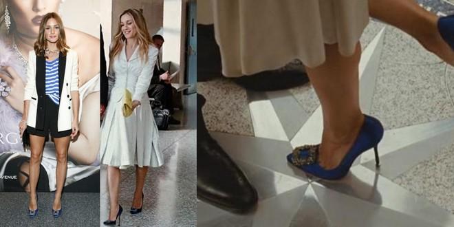 Olivia usou scarpin azul Manolo Blahnik, o mesmo usado por Carrie Bradshaw, personagem de Sarah Jessica Parker, em seu casamento no filme Sex and the City