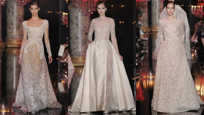 Vestidos em tons claros e cheios de bordados, bem Elie Saab de ser na Paris fashion Week Outono Inverno 2014-2015
