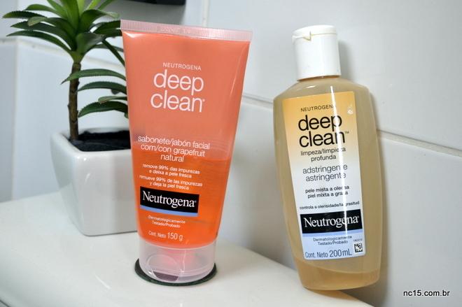 Neutrogena Deep Clean Grapefruit, embalagem de 150g, e o adstringente deep clean de 200g, dupla dinâmica para pele oleosa