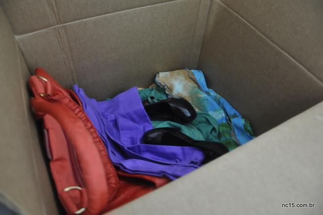 Caixa das doações que vai  lá para o Ceará