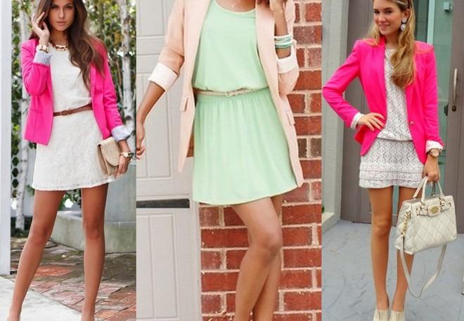 Pink blazer com vestido branco