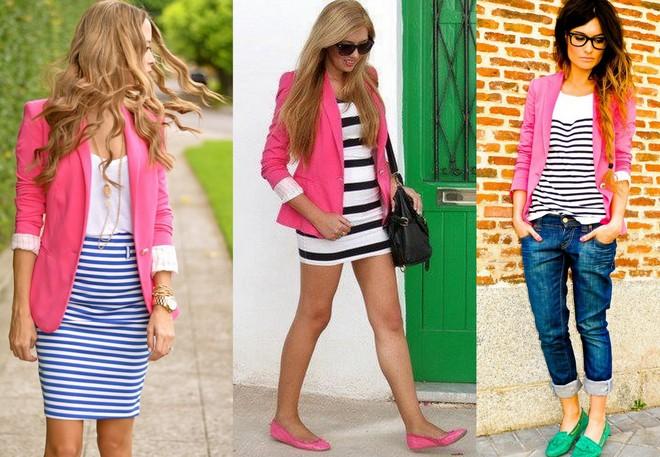 Blazer rosa combinado com saia lápis, vestido ou camiseta, todos de listra
