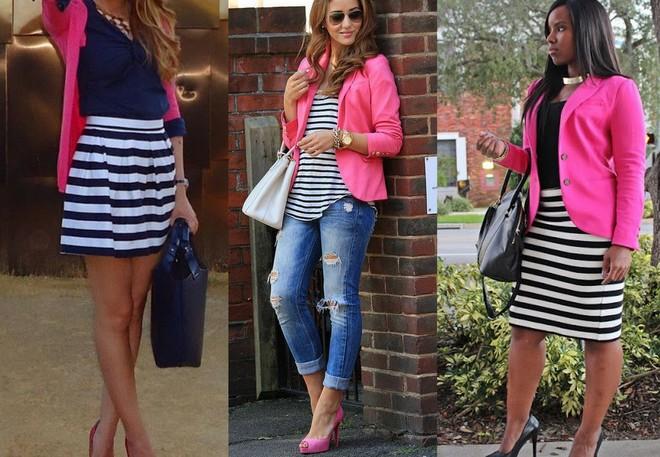 Pink blazer com saia tulipa, regata ou saia lápis listrada para você escolher qual a melhor combinação